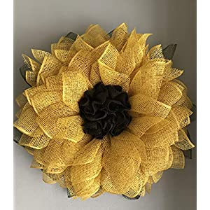 Yellow Sunflower Poly Burlap Mesh Front Door Spring Summer Welcome Country Wreath 1