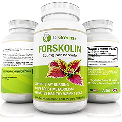 Best 100% Pure Forskolin Extract By DrGreen's, Fast Weight Loss Supplement, 250mg Per Cap-sule, 90 Veggie Capsules, Coleus Forskohlii Extract For Men & Women, Metabolism Booster & Extreme Fat Burner