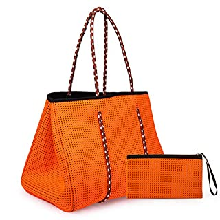 SOMEWHERE HAUTE Neoprene Tote Beach Diaper Work Travel Bag, Orange, X-Large