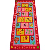 Hopscotch Rug Play Carpet – Educational and Fun Kid's Mat for Bedroom, Nursery and Classroom – 10 Numbered Squares - Colorful Flower Design - by Amy & Delle