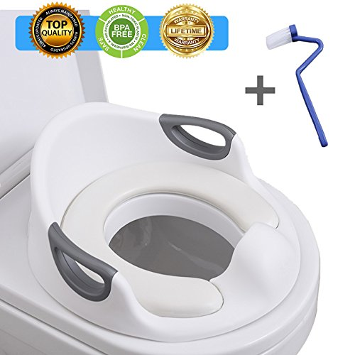 (Potty Training Seat For Kids Toddlers Boys Girls Toilet Seat For Baby With Cushion Handle And Backrest Toddlers Toilet Training Seat Anti-slip Great Mommy's Helper for Baby Kids Toddlers)