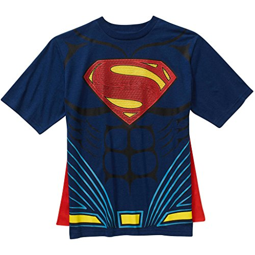 Superman Boys Cape Graphic T-Shirt, Navy (Superman T Shirt With Cape)