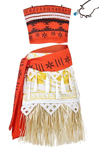 (Wenge Adult Moana Costume Princess Moana Outfit Adventure Costume Skirt Set Necklace Cosplay (Adult-L, Adult)
