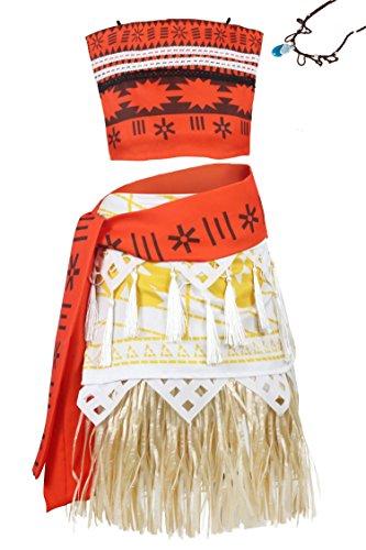 Wenge Adult Moana Costume Princess Moana Outfit Adventure Costume Skirt Set Necklace Cosplay (Adult-M, Adult Moana)