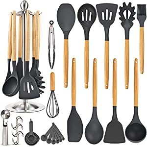 Silicone-Kitchen-Cooking-Utensil-Set-EAGMAK-15PCS-Kitchen-Utensils-Spatula-Set-with-Stainless-Steel-Stand-for-Nonstick-Cookware-BPA-Free-Non-Toxic-Cooking-Utensils-Kitchen-Tools-Gift-Black-Gray