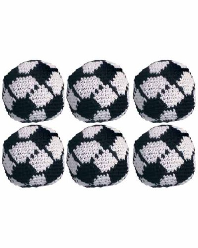 Set of 6 Hacky Sacks - Soccer Ball