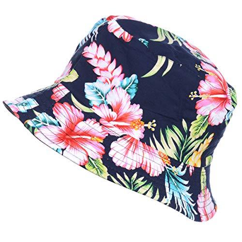 (Fashion Packable Reversible Black Printed Fisherman Bucket Sun Hat, Many Patterns)