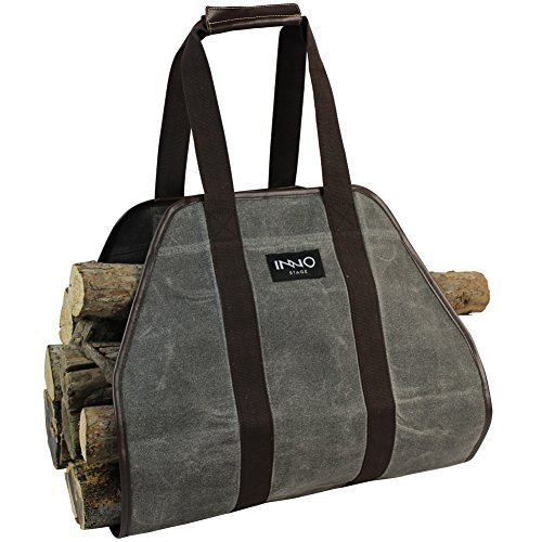 INNO STAGE Waxed Canvas Log Carrier Tote Bag,40X19 Firewood Holder,Fireplace Wood Stove Accessories