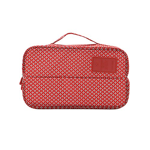 Zhenxinmei Double Open Type Travel Underwear Bags Socks Bra Storage Tote Bag Portable Receiving Pouch Handbag Cosmetics Organizer Case Makeup Packages (Red Stars)
