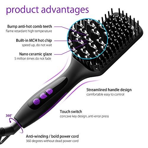 Hair Straightening Brush, GLAMFIELDS Electrical Heated Brush Irons Hair Straightener advantages