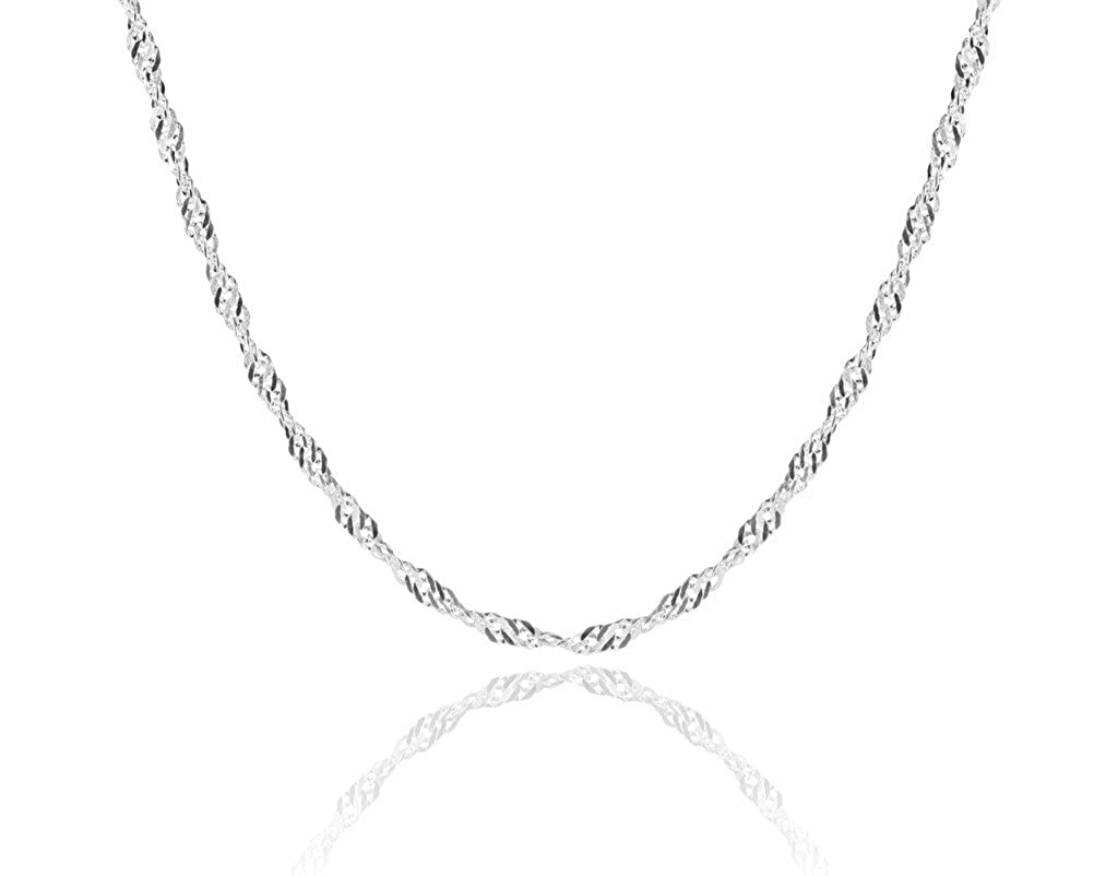 1mm thick solid sterling silver 925 Italian SINGAPORE ROPE twisted curb link chain necklace chocker bracelet anklet - 15, 20, 25, 30, 35, 40, 45, 50, 55, 60, 65, 70, 75, 80, 85, 90, 95, 100cm Cozmos Jewelry 8inch/20cm_1mm_Twist_Curb_C11