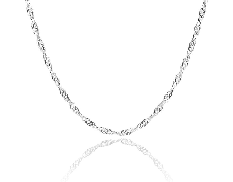 2378308400ec Collar cadena pulsera tobillera Tipo Singapur Corde Cordon de fina plata de  ley 925 1mm Bisutería
