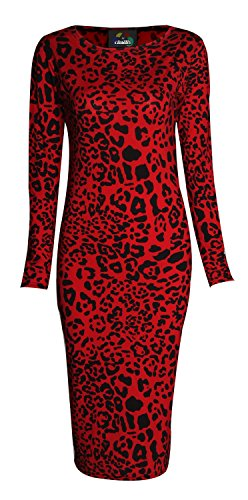 Forever Womens Long Sleeves Printed Bodycon Long Stretchy Midi Dress (Dress Leopard Jersey Print)