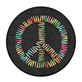 Colorful Bullet Peace Sign Round Floor Rug Doormats For Home Decorator Dining Room Bedroom Kitchen Bathroom Balcony