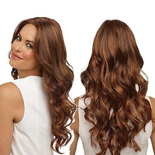 KIXIGO Long Curly Wig Brown Wig, Sexy Lady Ombre Wig Natural Looking Synthetic Womens Wigs (LIGHT BROWN)