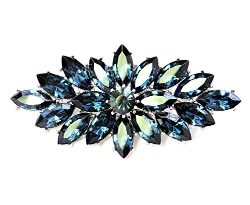 Faship Marquise Big Pin Brooch Gorgeous Navy Blue Crystal (Navy Blue Crystal)