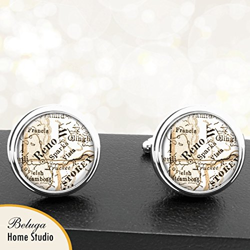Handmade Antique Map Cuff Links Reno and Sparks NV USA City Cuff Links State of Nevada