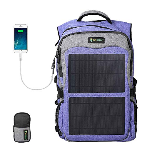 SUNKINGDOM Laptop Backpack USB Charging Port Durable Waterproof Mutiple Function Solar Backpack for Camping -