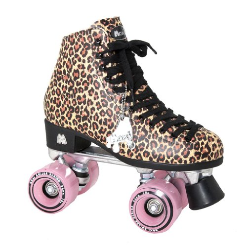 Moxi Ivy Jungle Outdoor Roller Skates - Tan Leopard Print with Moxi Juicy Pink Frost Wheels
