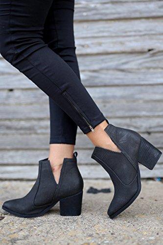 Fisace Mujeres Cute Cowboy Botaie Cerrado Dedo Del Pie Slip On Stacked Low Heel Botín Occidental Negro