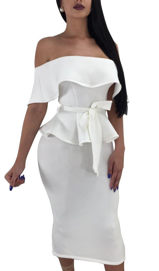 Darceeneth Women Elegant Off Shoulder Ruffle Cocktail Party Midi Dress Suit Bodycon Skirt Two Piece Set White L