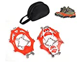 Heartte One Pair Anti Slip Crampon Ice Cleat Grips for Shoes and Boots with 12 Teeth Traction Snow Spikes for Outdoor Activities, Mountain Climbing, Hiking and More (AT6605)