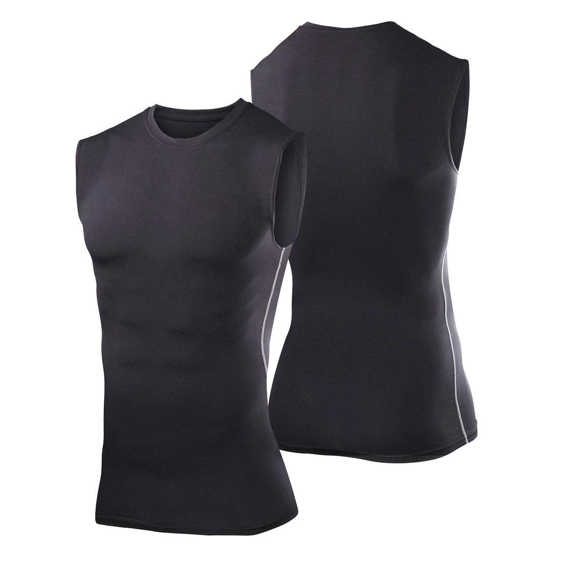Mens Black Sleeveless Compression Shirt Base Layer Tights #HLFN XL-XXL Peppermint Store