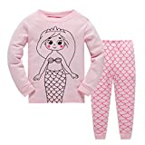 Garsumiss Girls Pyjamas Set Cute Kids Long Sleeve Cotton Pjs Pajama Sleepwear Tops Shirts & Pants Nightwear Children Outfit 2-8 Years (7 Years, Pink/Mermaid)