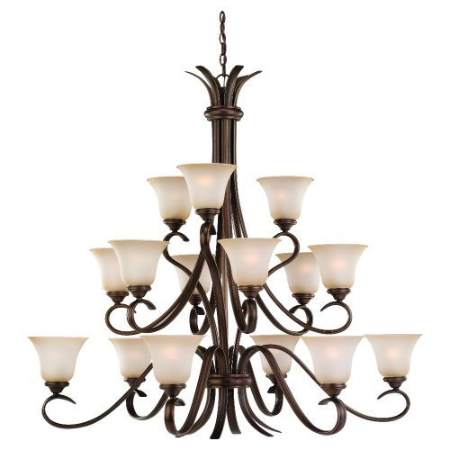 large lighting fixtures. Sea Gull Lighting 31363-829 Fifteen-Light Rialto Chandelier With Ginger Glass Shades, Russet Bronze Finish Large Fixtures U