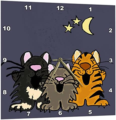 3dRose Funny Tiger Cat, Black Cat, and Grey Cat Singing in Moonlight – Wall Clock, 13 by 13-Inch DPP_200115_2