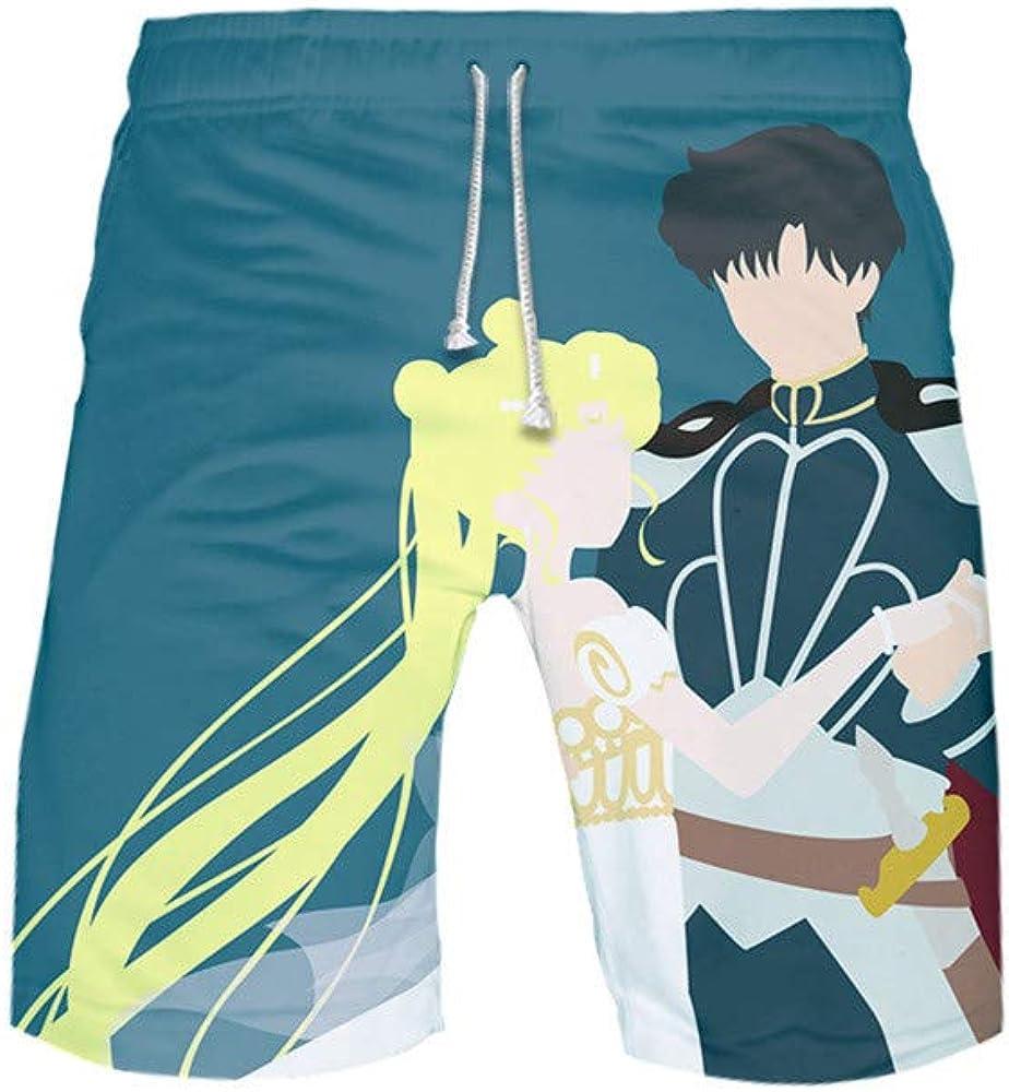 BOBD-DW Sailor Moon Shorts De Baño para Hombre Shorts De Playa Traje De Bañode Secado Rápido para Vacaciones Swim Short Pantalones Cortos para Hombre
