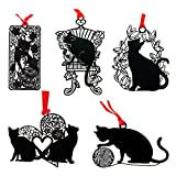 Set of 5 Metal Black Hollow Bookmark Stainless Steel Painting Template Animals for Kids Friends
