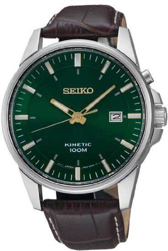 Seiko Kinetic Green Dial Leather Mens Watch SKA533, Watch Central