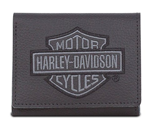 Harley Davidson Embroidered Leather Tri Fold XML8780 GRYBLK