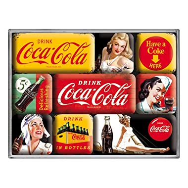 Coca Cola Yellow set of 9 Mini Fridge Magnets in box (na)