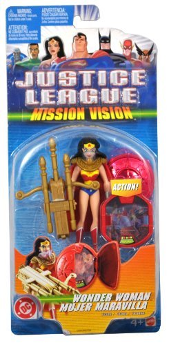 DC Comics Year 2003 Justice League Mission Vision Series 4-1/2 Inch Tall Action Figure - WONDER WOMAN with Display Base, Crossbow, 3 Arrows, Face Armor and Mission Shield
