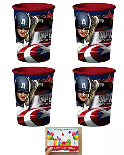 Captain America Plastic Reusable Cups Pack of 4