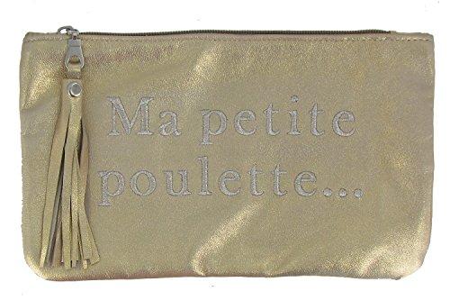 Borsa in Pelle Ricamata Ma Petite Poulette Colore d'Oro