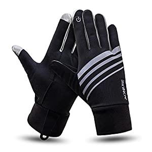 Outdoor Winter Cycling Sport Gloves Elements Touchscreen Thermal Glove Liners Lightweight Best For Running, Driving Warm Hand Gloves For Smart Phone Gray Small Medium