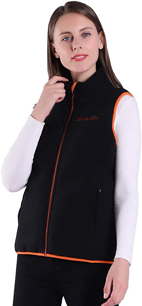 CONQUECO Women's Heated Fleece Vest Soft and Cozy Waistcoat for Outdoors