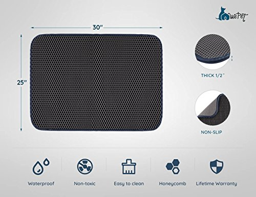 WePet 2-Layer Honeycomb Large Cat Litter Mat Premium Kitty Box Trapping Sifting Pads Waterproof Urine Repellent Scatter Activity Play Scratching/Nap to Keep Floor Corner Carpet clean Best for Grumpy by WePet (Image #5)