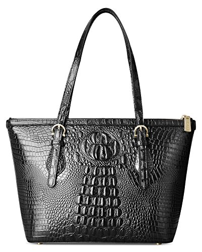 PIFUREN Leather Tote Bag for Women shoulder tote Bag Designer Crocodile Purse Office Satchel Totes (C68726 Black)