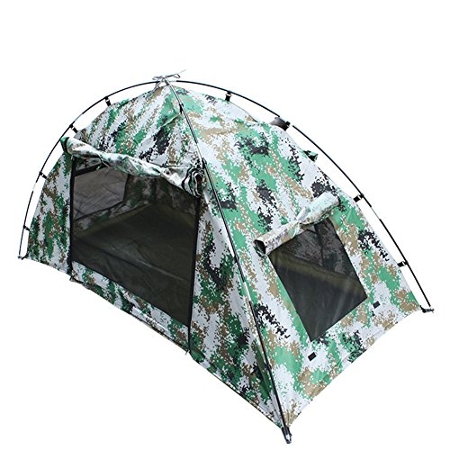 TaoRong Digital Camouflage Single Camping Tent Combat Tent Double Layer Waterproof Outdoor 1-person quick set up for Hunting Fishing Hiking traveling (Camouflage)