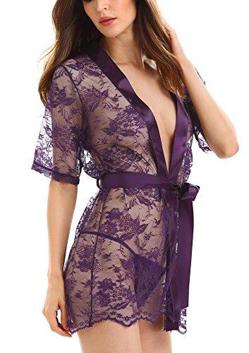 Beach Pareo Tunic Kimono sexy 2 p Chemise Lace piezas Adorneve pijamas qSHwaE7fnx