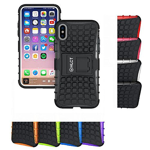 Price comparison product image iPhone Xs Stand Case, iPhone X Stand Case, HLCT Rugged Shock Proof Dual-Layer Case with Built-in Kickstand for iPhone Xs/X (Black)