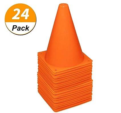 5a261f70c [ 24 Pack ] 7 Inch Plastic Traffic Cones Sport Training Traffic Cone Sets  Field Marker
