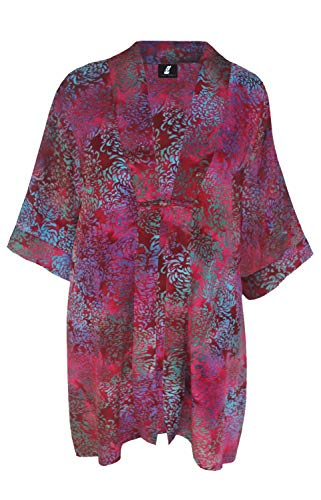 Batik Kimono Oversize Caftan Wrap, Asian Inspired Duster with Chinese Knot Closure, Back Neck Collar, PLUS SIZE 2X-4X Dressy Women's Kimono