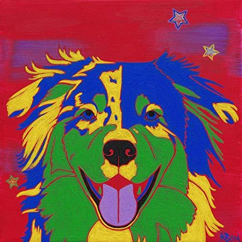 Australian Shepherd Art - Aussie Pop Art Print - Dog Pop Art by Angela Bond
