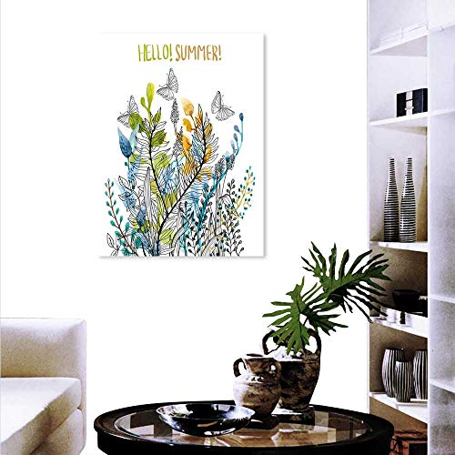 Anyangeight Floral Wall Paintings Hello Summer Watercolor Fern Branch Butterfly Harvest Season Paint Print On Canvas Wall Decor 24