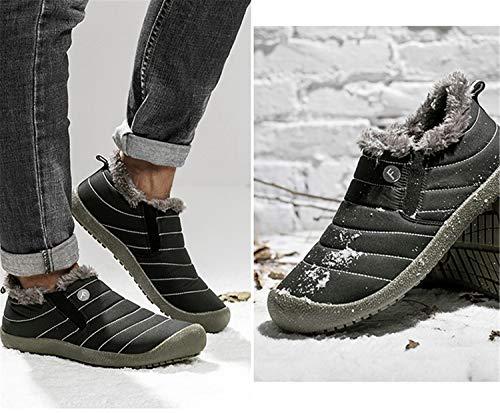 Slippers Fully Slip Men Fur Boots Black Slipper Women Waterproof Slipper Anti Ankle low Lined House JACKSHIBO Outdoor zE0qw